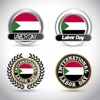 スーダン旗労働日のデザインベクトル