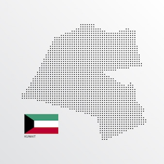 フラグと明るい背景ベクトルとクウェートの地図デザイン