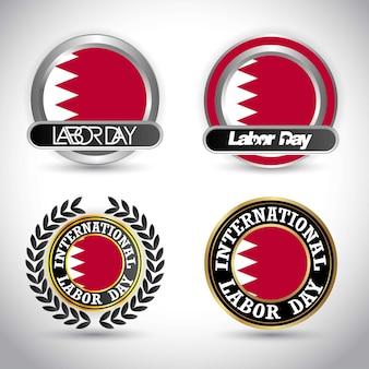 労働日のデザインベクトルとバーレーンの旗
