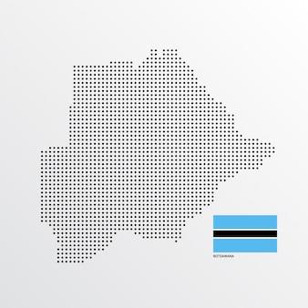 フラグと明るい背景ベクトルとボツワナ地図デザイン