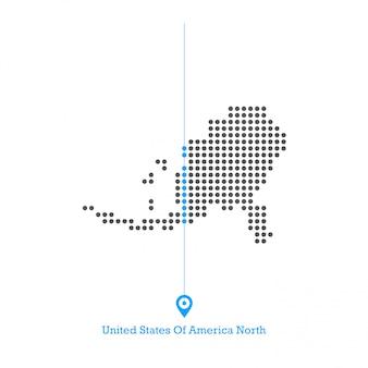 米国のドットマップデザインベクター