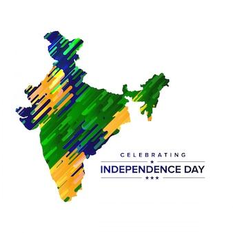 インド地図とタイポグラフィーベクトルとの独立日のデザイン