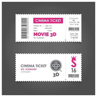 Билет в кино с розовыми деталями
