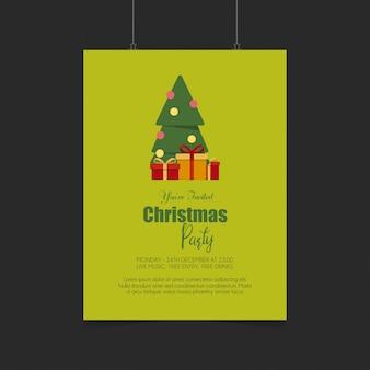 創造的なデザインと緑の背景とメリークリスマスカード