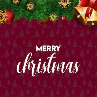 Рождественская открытка с элегантным дизайном и красным фоном