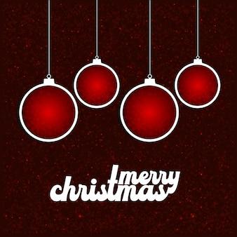 エレガントなデザインと赤の背景ベクトルとクリスマスカードのデザイン