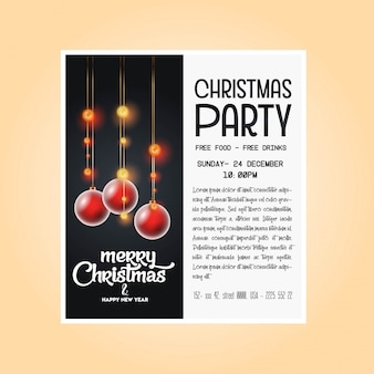 ヴィンテージクリスマスパーティーのチラシのテンプレート
