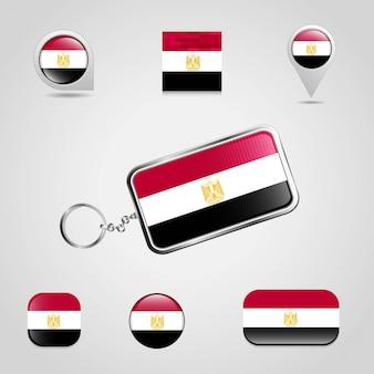 Египетский флаг страны на брелках и карта булавки разных стилей
