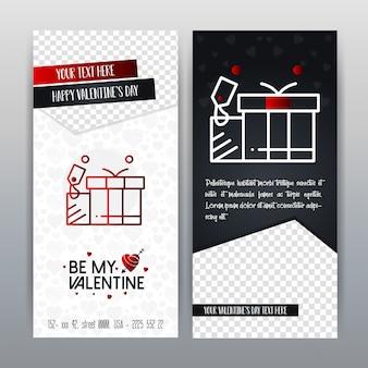 幸せなバレンタインデーの赤いアイコン垂直バナー。ベクトルイラスト