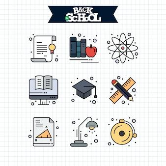 Снова в школу значок. набор иконок линии образования и обучения.