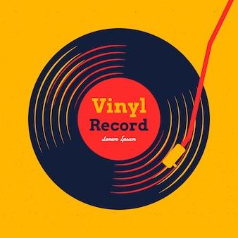 黄色のグラフィックのビニールレコード音楽