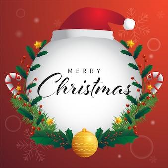 モミの木とお祝いデコレーションボール、星、赤の背景に雪の結晶の休日クリスマスカード。