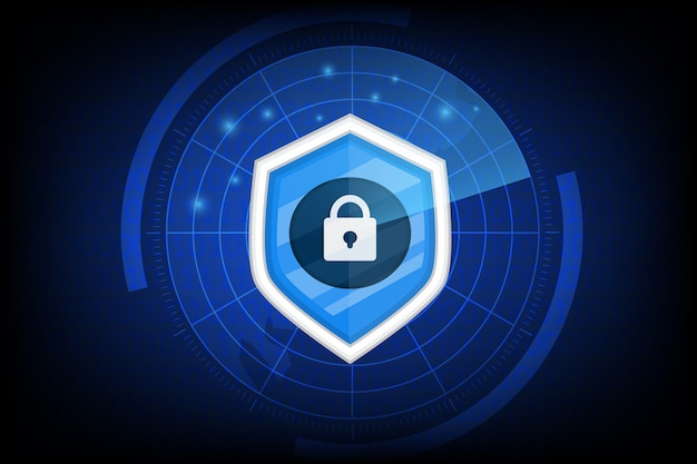 Кибербезопасность с значком ключа на темноте