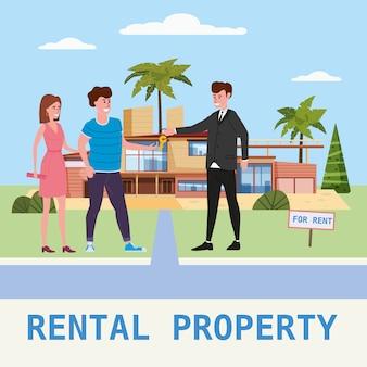¡служба аренды дома. современные семейные персонажи сдают в аренду новую роскошную виллу или большую квартиру, менеджер по продажам сдает ключи