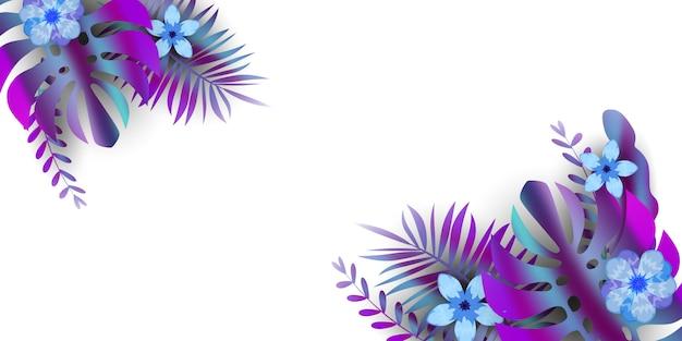 熱帯植物の葉背景エキゾチックな花