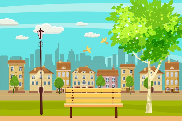 春の風景都市公園。屋外のベンチ。鳥が歌います。青空