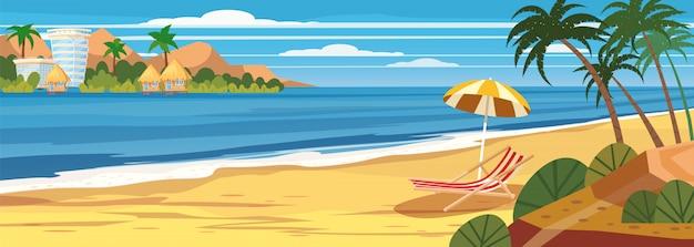 Летний пейзаж, пляж, летние каникулы, шезлонг, зонтик на море