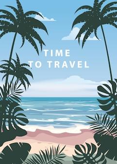 旅行する時間夏休み休暇海景風景海景海海ビーチ、海岸、ヤシの葉。レトロ、熱帯の葉、ヤシの木