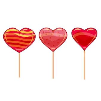 カラフルなハート型のロリポップのセット。バレンタインの日のデザインに適しています。漫画のスタイル、ベクトル、分離