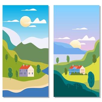 農村郊外の伝統的な建物、丘と木山海太陽を風景します。