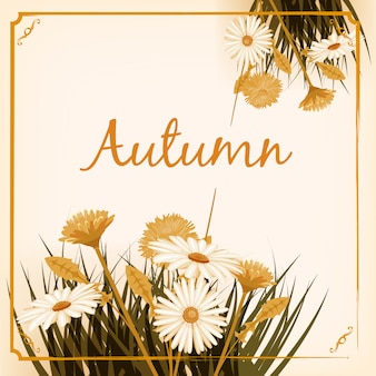 Красивые осенние цветы, листья, букет желто-коричневый