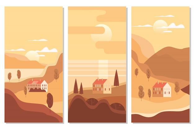 秋の風景海海の建物、丘および木山湖太陽