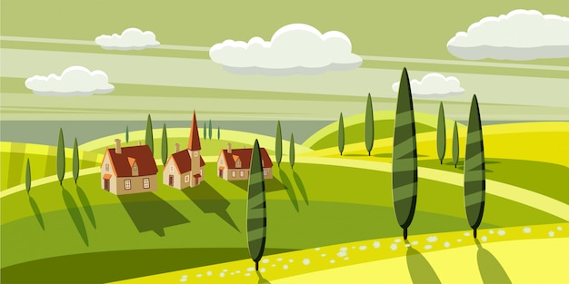 Прекрасная сельская местность, ферма, деревня, пасущиеся коровы, овцы, цветы, облака