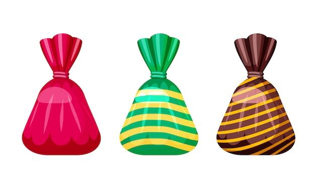 異なる色のパッケージ内の甘いキャンディーのセット、ベクトル