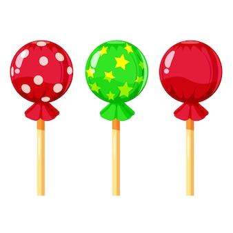 Набор красочных леденцов, сладкие конфеты, векторная иллюстрация, мультяшном стиле