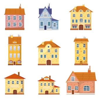 かわいいカラフルな家のベクトル図のセット。ベクトル漫画の建物図
