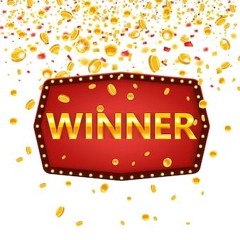 Победитель кадр метки баннер шаблон. выиграй поздравления винтажной рамке со светящимися лампами, золотой поздравляющий подставил знак