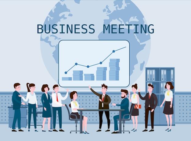 Встреча деловых людей, работа в команде или мозговой штурм