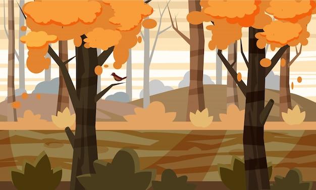 Мультяшный стиль осенний пейзаж фон с деревьями, природа, для игры, векторная иллюстрация