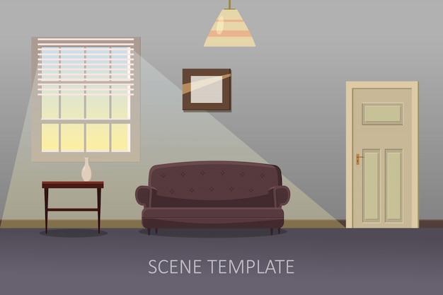家具付きのリビングルームのインテリア。漫画のスタイルのベクトル図
