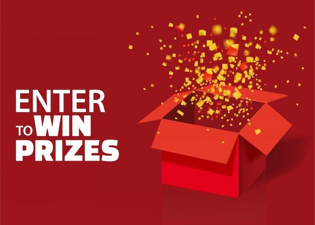 赤いギフトボックスとカラフルな粒子の紙吹雪を開きます。
