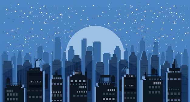 都市景観の夜。近代的な都市のスカイラインのパノラマ背景。都市タワー高層ビルのスカイライン