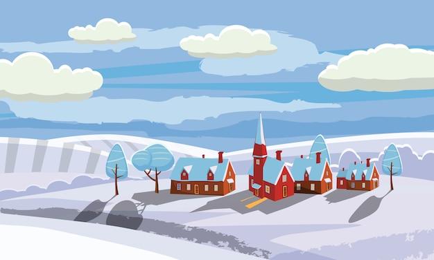 新年とクリスマスの冬の風景の背景。田舎、田舎。ベクトルイラスト漫画のスタイル