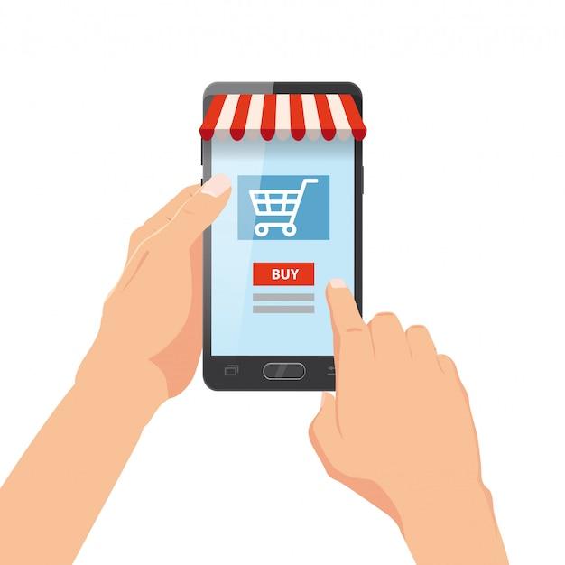 Рука держа смартфон с корзина. интернет заказ. интернет супермаркет