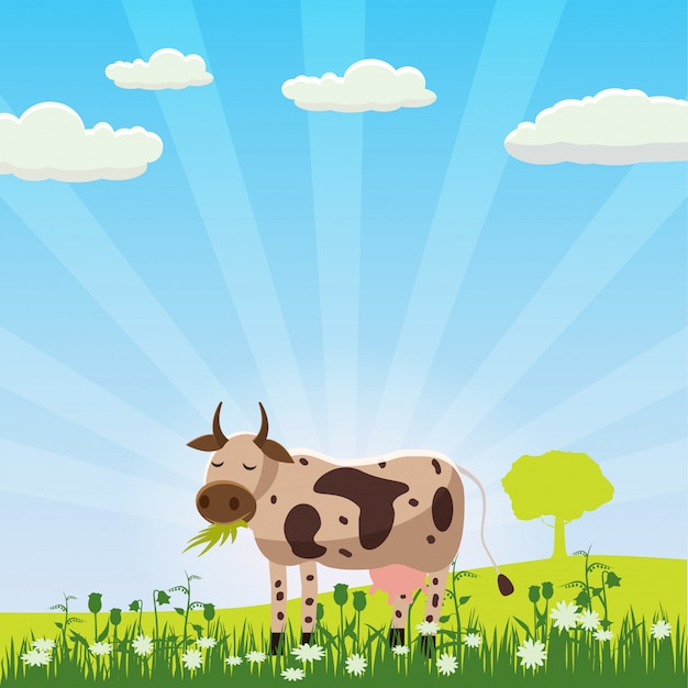 風景、漫画スタイル、ベクトル図で草を食べる牧草地で牛をかすめる