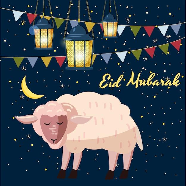 眠っている羊、ライト、星、月、漫画のスタイル、ベクトルイラスト