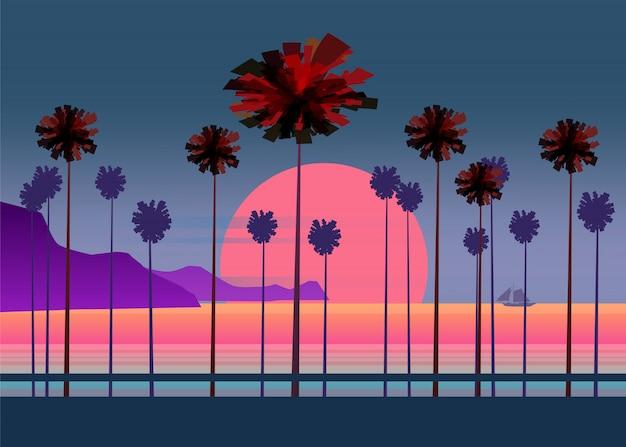 Летние каникулы дорога, тропический пляж закат, океан, море, с пальмами