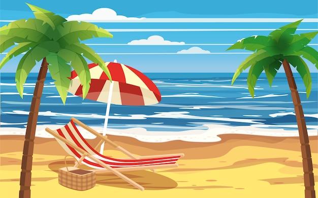 Отпуск, путешествия, отдых, тропический пляж, зонтик, шезлонг, морской пейзаж, океан шаблон баннер