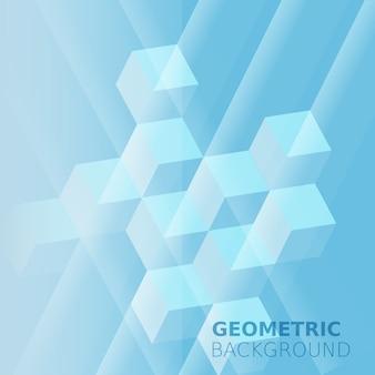 キューブの抽象的な背景、ブルーのモノクロカラー、正方形
