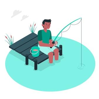 Иллюстрация концепции рыбалки