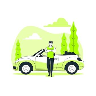 По моей машине концепция иллюстрации