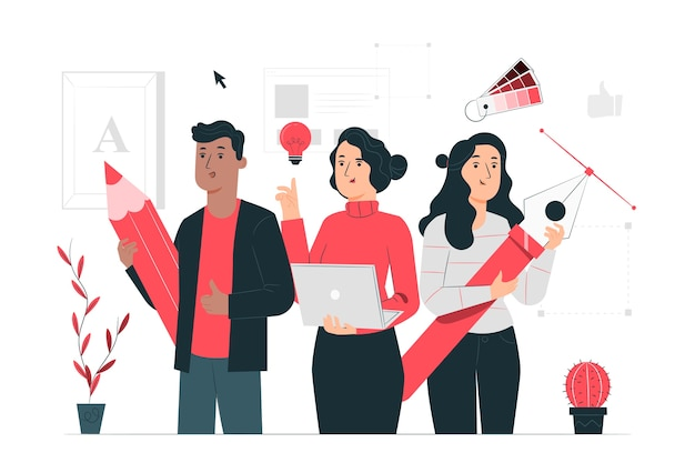 Иллюстрация концепции сообщества дизайна