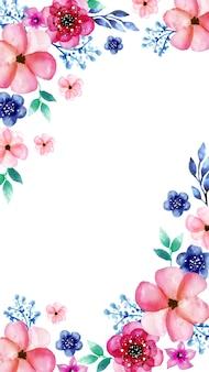 水彩画の花を持つモバイルの背景