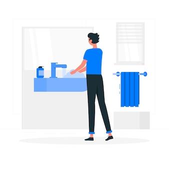 Иллюстрация концепции мытья рук