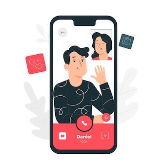 Иллюстрация концепции видео звонка
