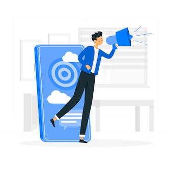 Иллюстрация концепции мобильного маркетинга